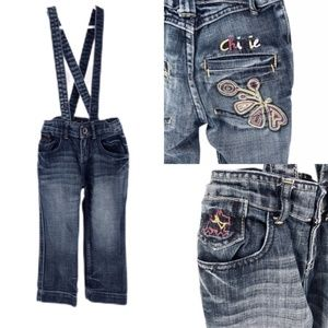 Chipie Made in France Embroidered Denim Overalls